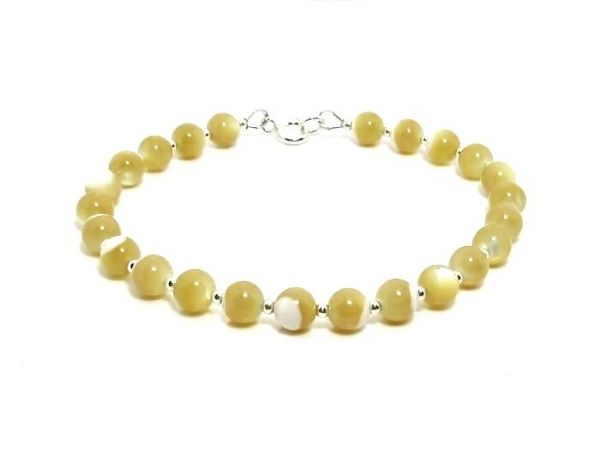Natural Mother of Pearl & Sterling Silver Beaded Bracelet | Silver Sensations